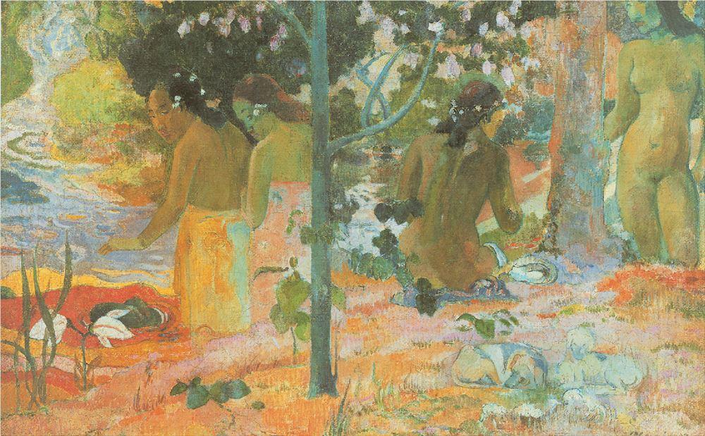 ΠΟΛ ΓΚΟΓΚΕΝ, «Λουόμενες»,1897, Εθνική Πινακοθήκη Ουάσιγκτον Είναι γνωστή η περιπέτεια του Πολ Γκογκέν στην Πολυνησία.Αγάπησε τα ασυνήθιστα για τον Ευρωπαίο τοπία,αλλά κυρίως τις πολυνήσιες γυναίκες με τη στιλπνή μελαψή επιδερμίδα,οι οποίες περιφέρονταν γυμνές χωρίς ντροπή προκαλώντας τον θαυμασμό του.