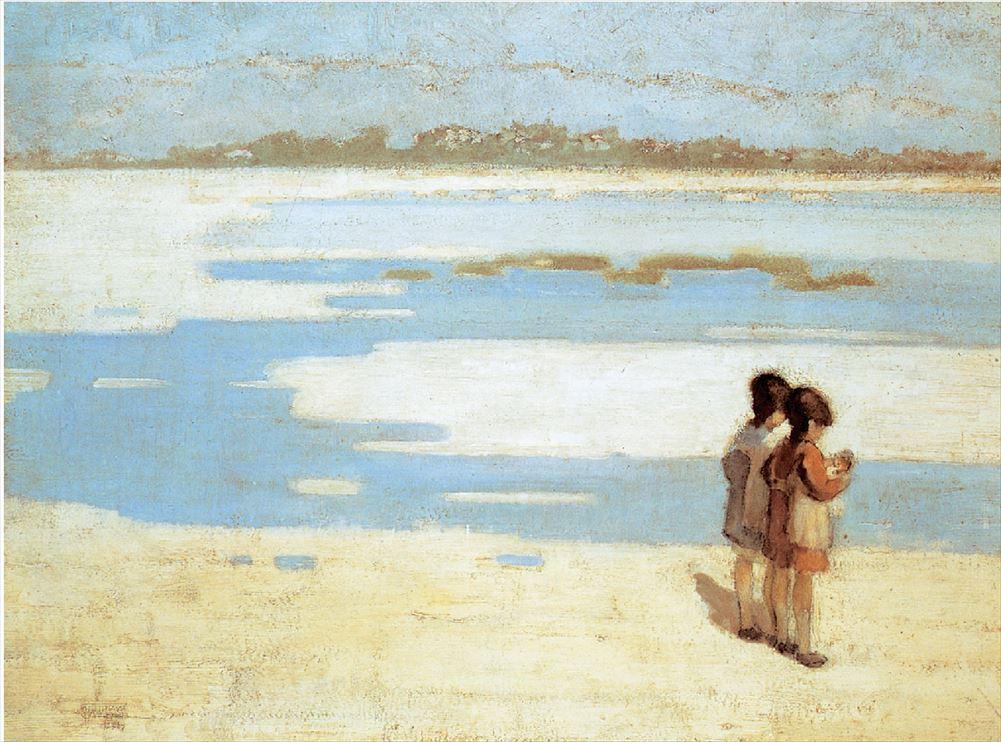ΘΕΟΦΡΑΣΤΟΣ ΤΡΙΑΝΤΑΦΥΛΛΙΔΗΣ, «Δυο παιδιά στην παραλία»,1919, Εθνική Πινακοθήκη Επί μακρόν θεωρούμενος ως ηθογράφος και μάλλον από τους λιγότερο γνωστούς καλλιτέχνες της Γενιάς του ΄30, στην οποία ανήκει χρονολογικά αν και αρνήθηκε τον ελληνοκεντρισμό πολλών από τους ομοτέχνους του,ο Θεόφραστος Τριανταφυλλίδης μάς θυμίζει εδώ τον πίνακα της Μαίρης Κάσατ «Παιδιά που παίζουν στην παραλία».