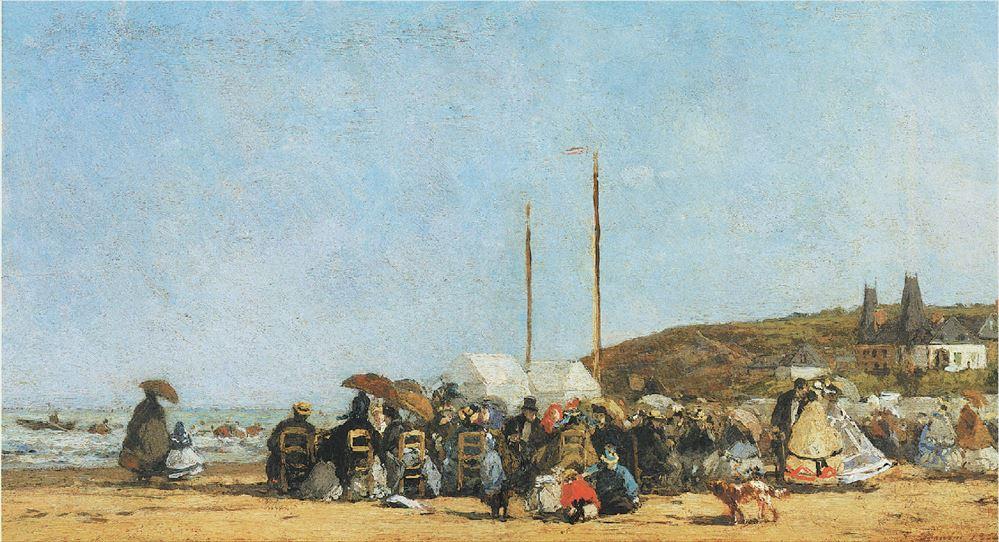 ΕΥΓΕΝΙΟΣ ΜΠΟΥΝΤΕΝ, «Παραλία στην Τρουβίλ»,1864-65, Εθνική Πινακοθήκη της Ουάσιγκτον Σε αντίθεση με τη διαδεδομένη άποψη που θεωρεί τον Μανέ πατέρα του ιμπρεσιονισμού,πολλοί πιστεύουν ότι πρωτοπόρος εμπνευστής υπήρξε ο Ευγένιος Μπουντέν.Τούτη η εικόνα από την παραλία της Τρουβίλ ενέπνευσε γενεές ζωγράφων οι οποίοι θέλησαν να απεικονίσουν φιγούρες σε τοπία.