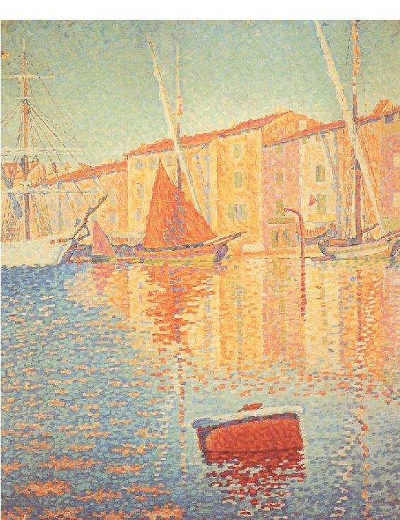 ΠΟΛ ΣΙΝΙΑΚ, «Κόκκινη σημαδούρα»,1895, Μουσείο Ορσέ, Παρίσι Επίσης από τους σημαντικότερους εκπροσώπους του πουαντιλισμού,μαζί με τον Ζορζ Σερά,ο Σινιάκ λάτρευε τη θάλασσα.Και πόσο προσφέρεται η τεχνική του με τις μικρές πινελιές καθαρού χρώματος για την απόδοση των παιχνιδιών του φωτός πάνω στην άστατη επιφάνεια της θάλασσας!