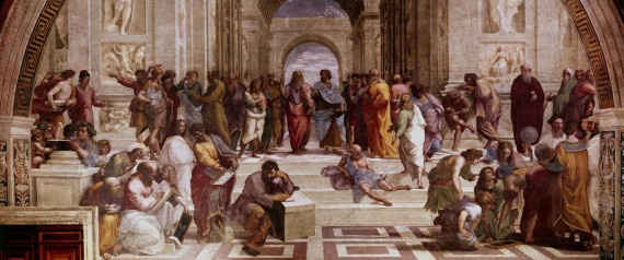 The School of Athens' showing Greek philosophers and scientist with Plato (428-348 BC) and his pupil Aristotle (384-322 BC) in the centre. Raphael (1483-1520) Raffaello Santi, Italian painter. Vatican.