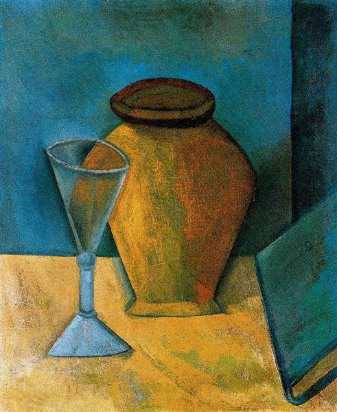βάζο, ποτήρι και βιβλίο, Pablo Picasso 1908