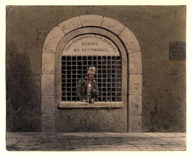 Ένας οφειλέτης στην φυλακή της Fleet Street. Ζωγραφική από το πρώτο μισό του 19ου αιώνα. THOMAS HOSMER SHEPHERD
