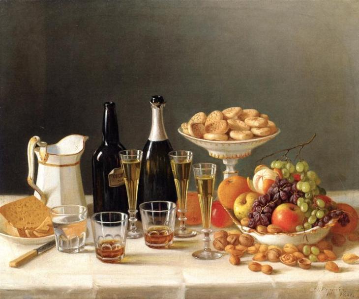 Κρασί, τυριά και φρούτα -John F. Francis - 1857