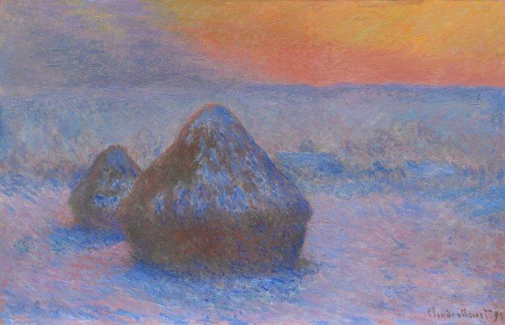 Μονέ, Grainstacks, η επίδραση του χιονιού Ηλιοβασίλεμα, 1891
