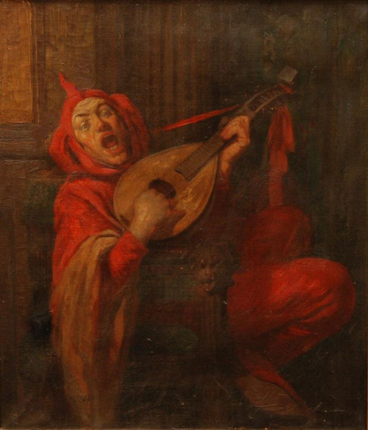 Original antique oil painting on canvas depicting a jester playing the mandolin. Signed G. Eudrian