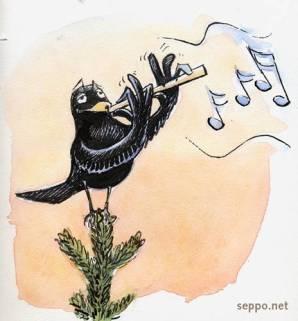 Blackbird and flute