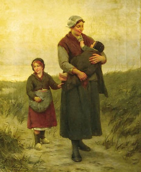 A mother and her children returning home by Henri Jacques Bource