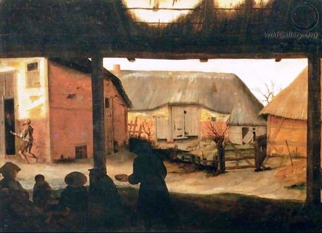 """""""Farmyard with a Beggar""""by Cornelis Van Dalem"""
