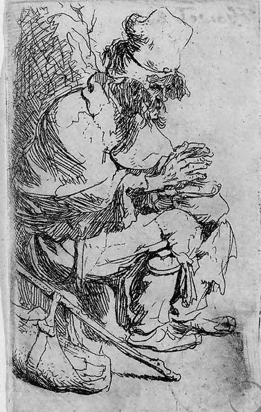 A Beggar seated warming his Hands at a Chafing Dish, by Rembrandt Van Rijn