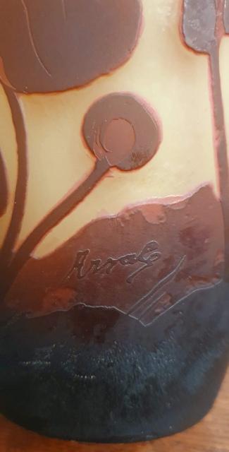 Ваза Arsall. КРАСИВАЯ. Двухслойное стекло. Модерн 20-е годы 20 века. В хорошем состоянии. 25 см высотой. Европа. Стиль Galle. Украсит интерьер.