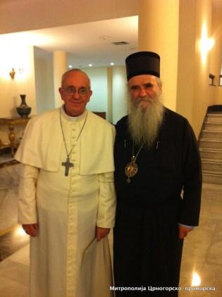 Митр. Амфилохий Черногорский и папа Франциск