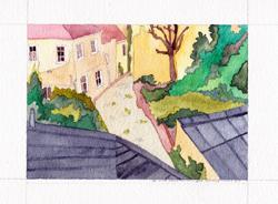 La phase 2 de l'aquarellage de la villa Hallé - petit format