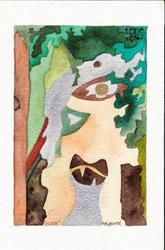 séries d''aquarelles sur le cyclope de Jean Tinguely