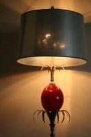Lampe Maison Charles, En Métal, Oeuf Résine Rouge, Années 70, Signée
