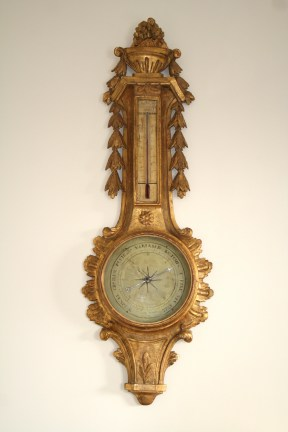 Baromètre Thermomètre en bois sculpté et doré, Louis XVI, Epoque 18ème