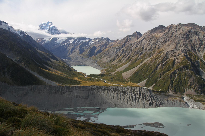 Mt Cook et lacs glaciaires