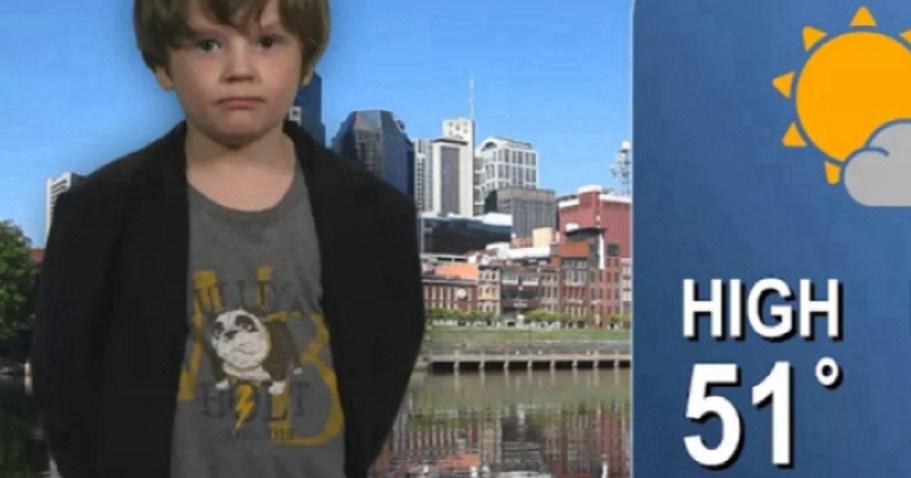 Мальчик снял ролик, для детского сада, с прогнозом погоды. Теперь его зовут работать на телевидение!