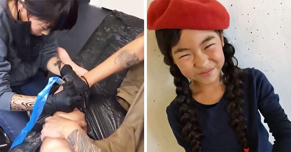 Маленькая японка, которая с 6 лет делает татуировки и у нее есть постоянные клиенты