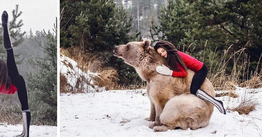 Пользователи бурно обсуждают фотосессию гиманастки с медведем
