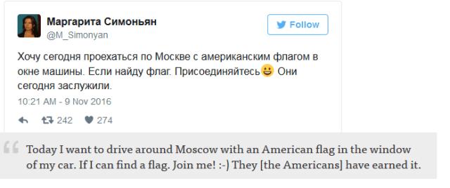 Tweet: Dnes chcem autom jazdiť po Moskve s americkou vlajkou v okne. Ak nájdem vlajku. Pridajte sa! :) Američania si to zaslúžili.