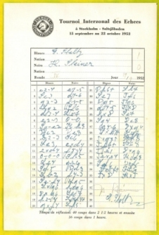 1952 Interzonal Chess Tournament (Score Sheet) - $250.00 : The Chess ...