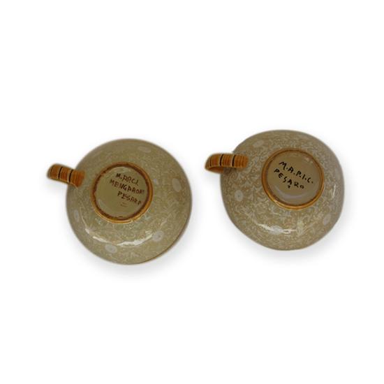 coppia tazzine piattini antichi in ceramica, Ferruccio Mengaroni, Pesaro