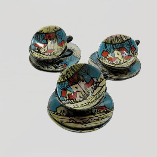 set da caffè antico, ceramica Molaroni Pesaro