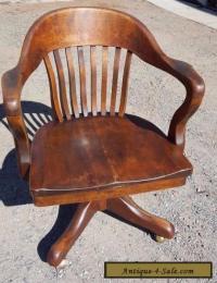 Antique Solid Oak Wood Swivel Chair Bankers Barrel Office ...