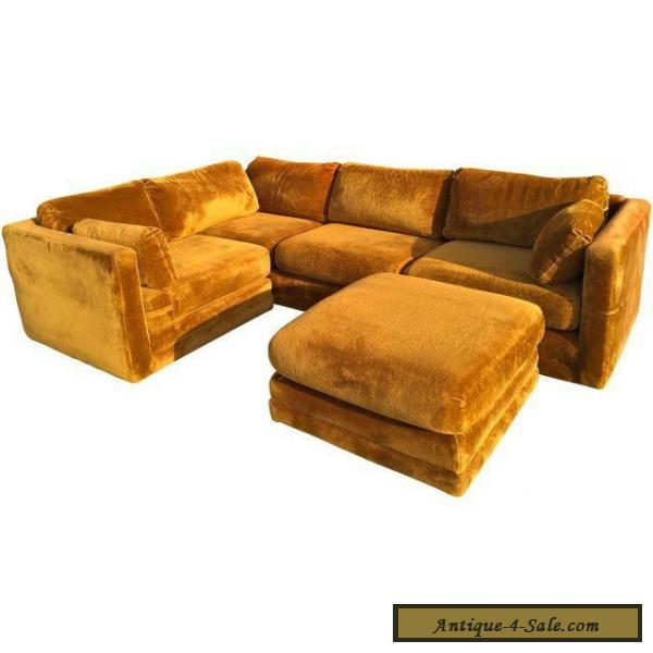 70s sofa reception designs mid century vintage 70 s velvet rustic brown for sale in united