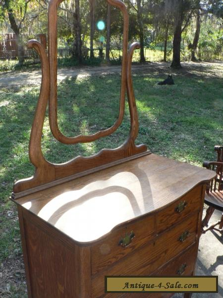 Antique Vintage Oak Dresser Mirror Primative Early American Furniture For Sale In United States