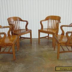 Sikes Chair Company John Deere Office Vintage C 1950s Solid Wood Courthouse Jury Bankers Chairs Set Of 4 For