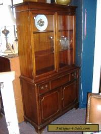 Mahogany China Cabinet Closet Glass Door Vintage Antique ...