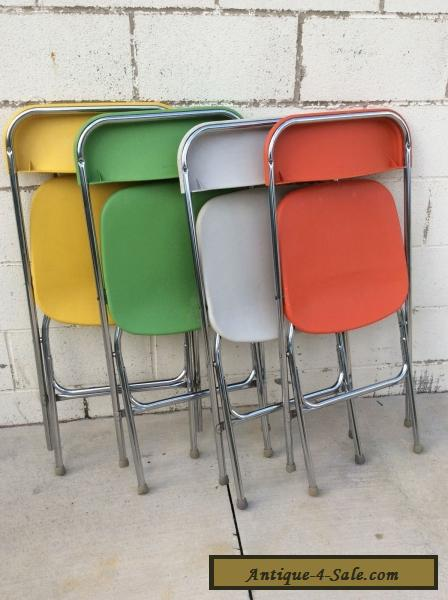 mid century modern plastic chairs fancy office chair multi colorful vintage samsonite folding set for sale