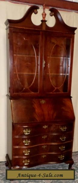 JASPER FLAME MAHOGANY SECRETARY Desk Lighted Cabinet 809 Claw Feet VINTAGE for Sale in United