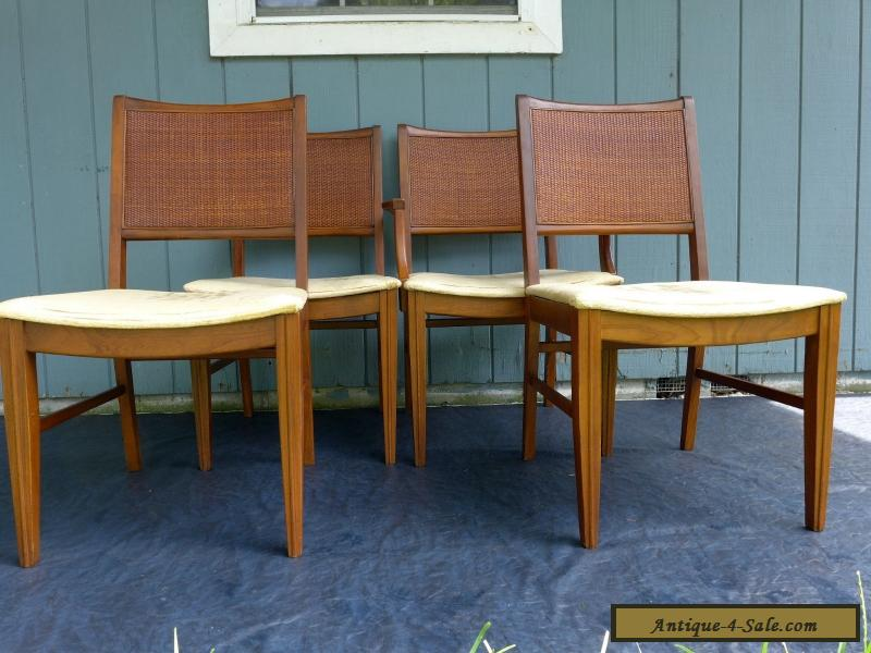 dining chairs with caning american black walnut 4 vintage mid century modern cane back velvet gold seats danish for sale