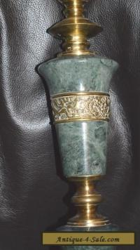 VINTAGE BRASS & TURNED GREEN MARBLE TABLE LAMP for Sale in ...