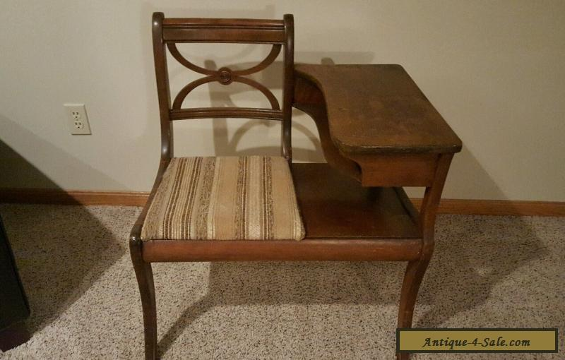 Antique Wooden Gossip Bench Phone Table Vintage Desk