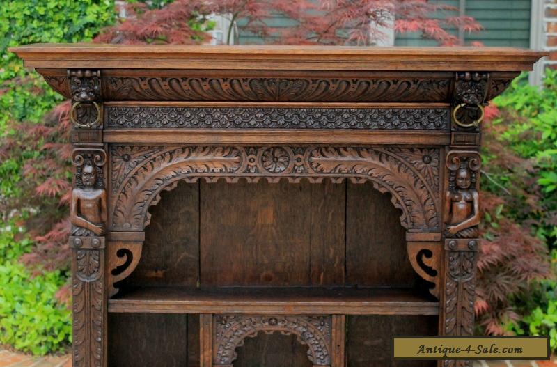 Antique English Oak Gothic Renaissance Wall Shelf Display