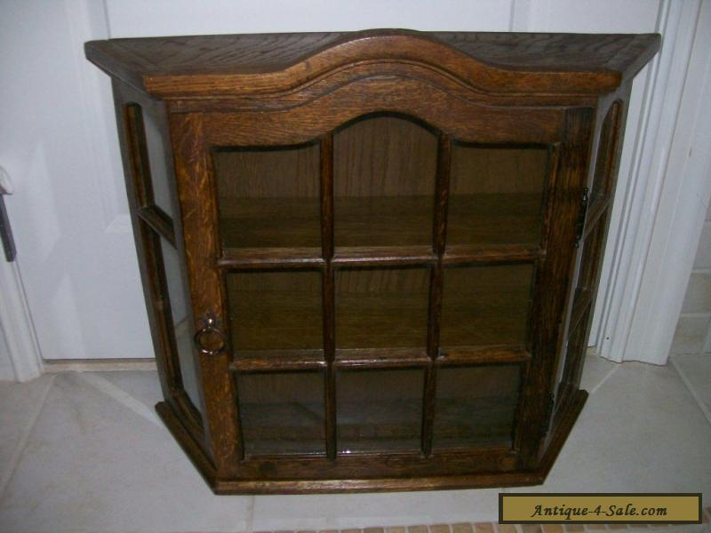 AntiqueVintage All Wood Oak Large Curio Wall Display