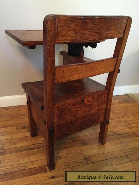 RARE Childs Antique School Desk Chair wood metal Mission