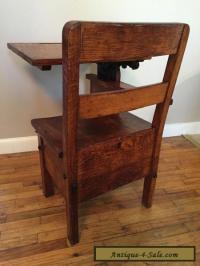 RARE Child's Antique School Desk Chair wood metal Mission ...