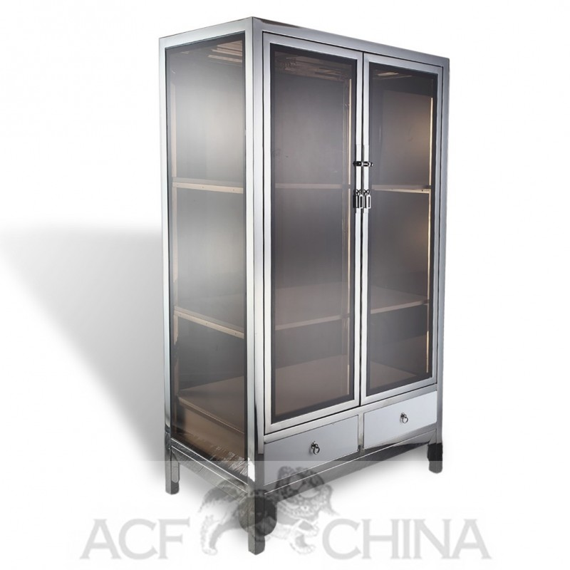 Asian contemporary stainless steel chrome and glass square