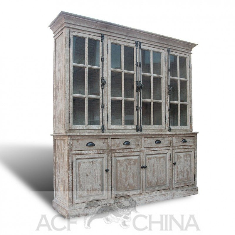 Reclaimed pine English hutch in whitewashed finish