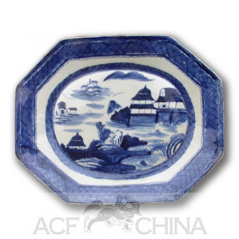 century kitchen cabinets sink ikea large sized canton style blue & white octagonal porcelain ...