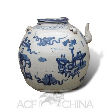 chinese kitchen cabinets vigo faucet large size blue and white round porcelain teapot ...