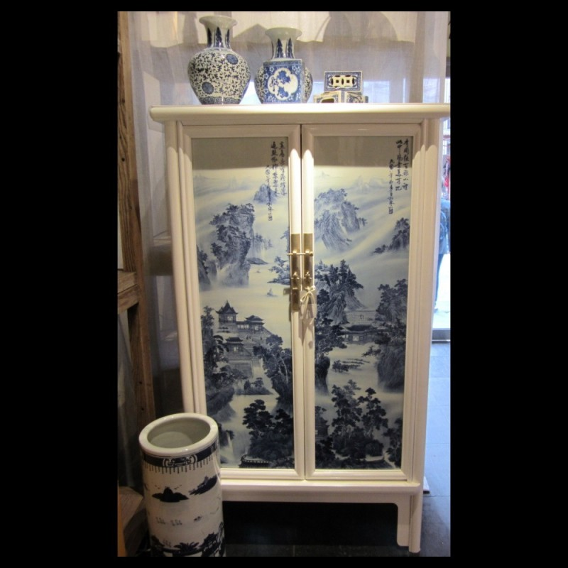 Asian influenced Porcelain inlay cabinet