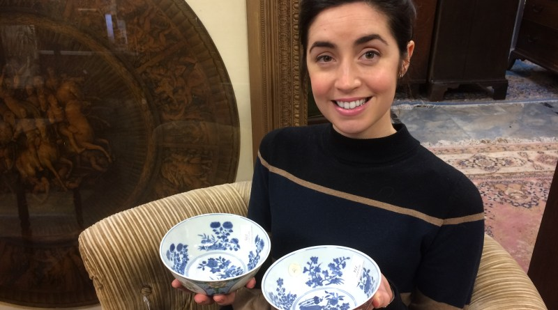 Emma Leatherland from Hansons with Chinese bowls