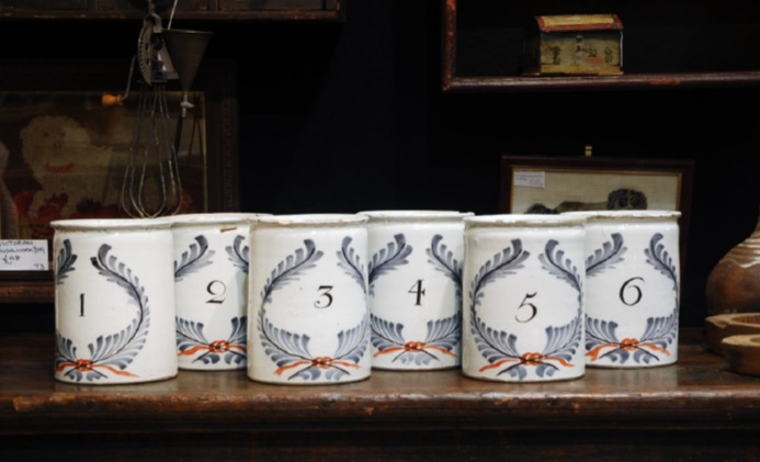 A set of antique 18th century chemist jars at Bath Decorative Antiques Fair