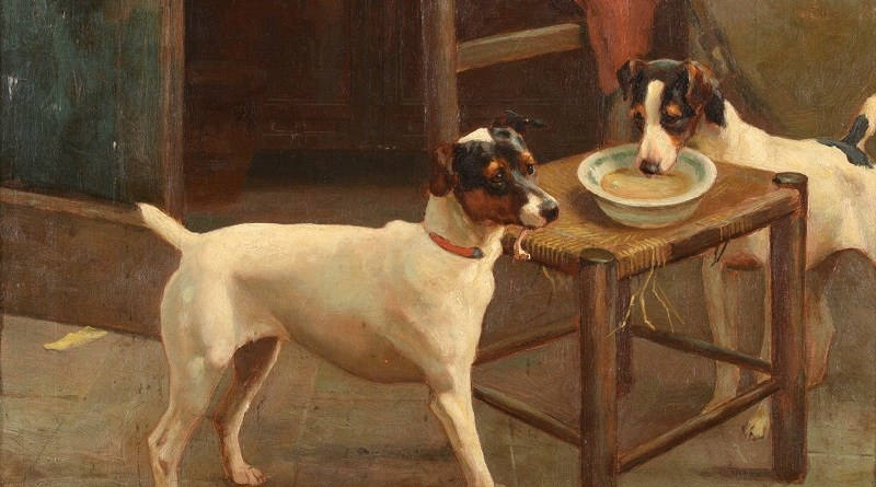 A pair of Jack Russell terriers by Alfred Duke, entitled Keeping Watch